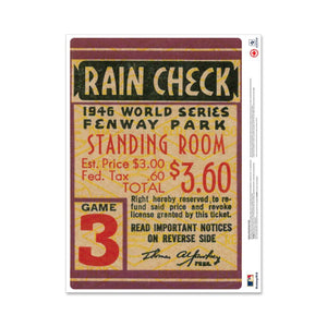 "24"" Repositionable W Series Ticket Boston Red Sox Centre 1946G3C"