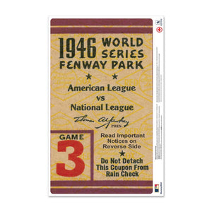 "24"" Repositionable W Series Ticket Boston Red Sox Right 1946G3R"
