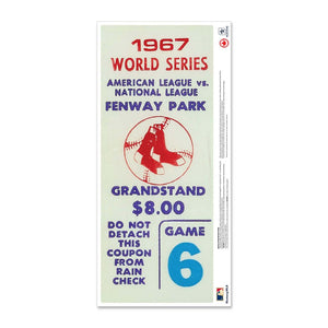 "24"" Repositionable W Series Ticket Boston Red Sox Left 1967G6L"