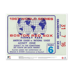"24"" Repositionable W Series Ticket Boston Red Sox Centre 1967G6C"