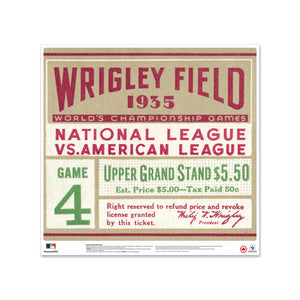 "24"" Repositionable W Series Ticket Chicago Cubs Left 1935G1L"