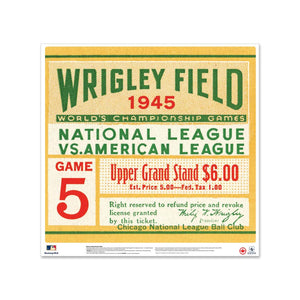"24"" Repositionable W Series Ticket Chicago Cubs Left 1945G1L"