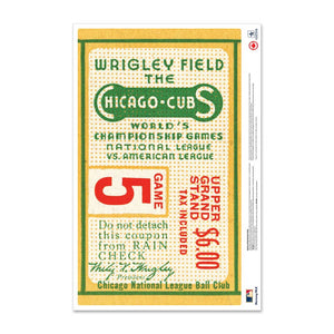 "24"" Repositionable W Series Ticket Chicago Cubs Centre 1945G1C"