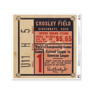 "24"" Repositionable W Series Ticket Cincinnati Reds Left 1940G1L"