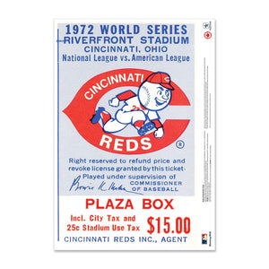"24"" Repositionable W Series Ticket Cincinnati Reds Left 1972G6L"