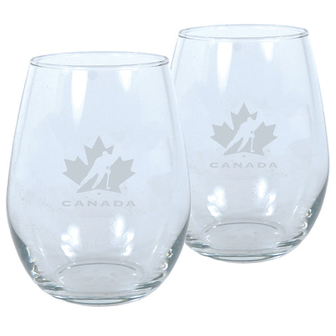 Team Canada 17oz Lasered Stemless Wine Glass