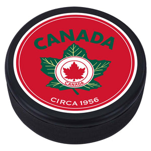 Team Canada Textured Puck - 1956 Vintage Design