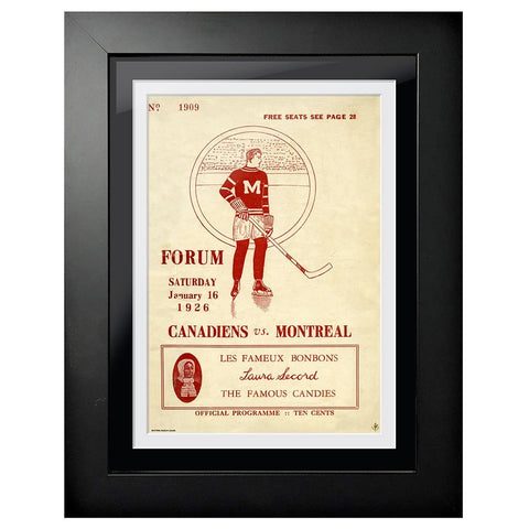 Montreal Canadiens Program Cover - Forum Sports Magazine Canadiens vs. Montreal 1926