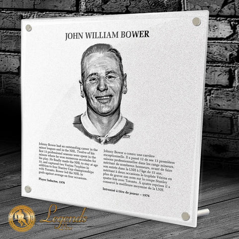 1976 Johnny Bower - NHL Legends Plaque