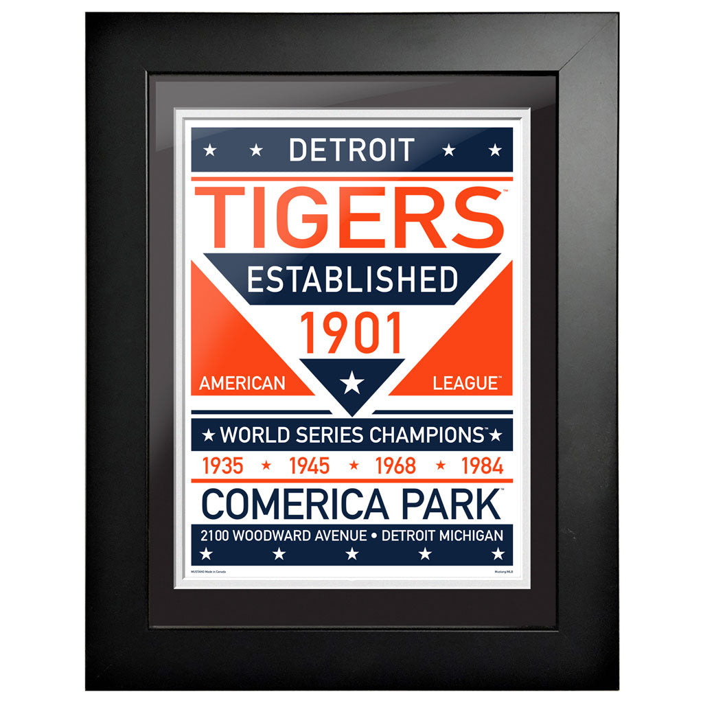Detroit Tigers 12x16 Dual Tone Framed Artwork