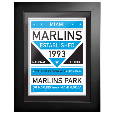 Miami Marlins 12x16 Dual Tone Framed Artwork