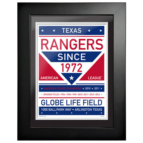 Texas Rangers 12x16 Dual Tone Framed Artwork