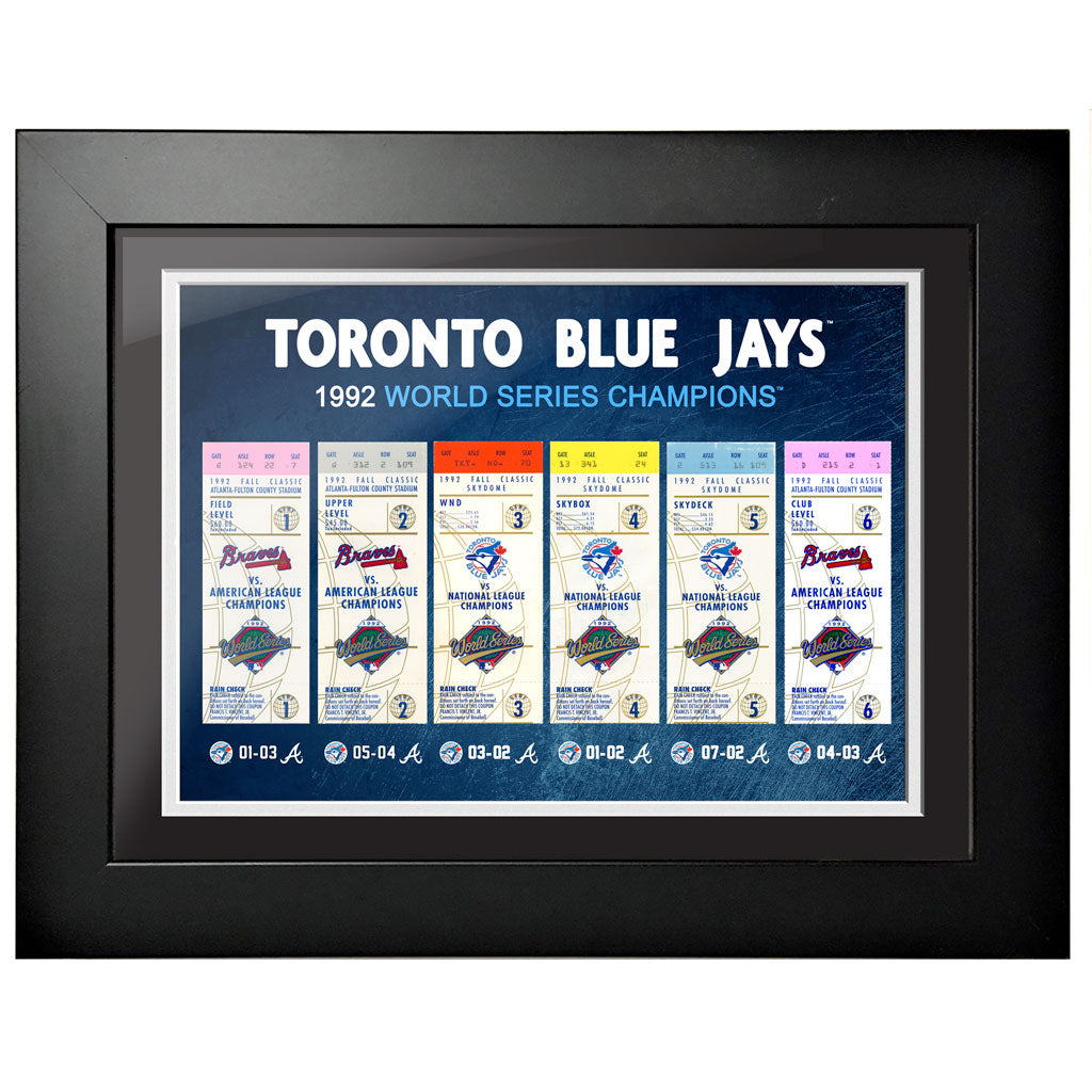 Toronto Blue Jays Ticket to History 12x16 Frame 1992