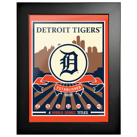 Detroit Tigers 12x16 Wins Collection Framed Artwork