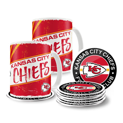 Kansas City Chiefs 15oz Classic 2 Pack Mug Set with 8 Pack Coasters