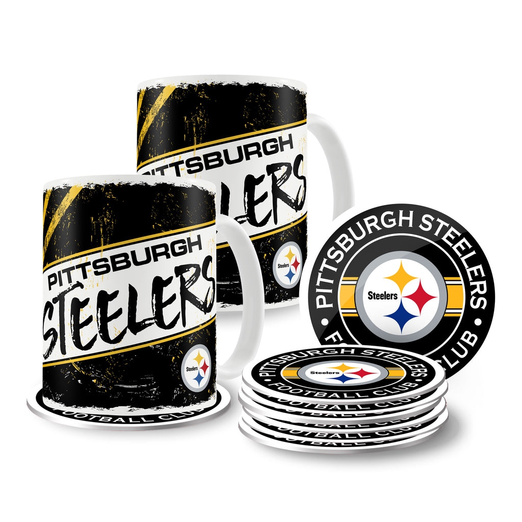 Pittsburgh Steelers 15oz Classic 2 Pack Mug Set with 8 Pack Coasters
