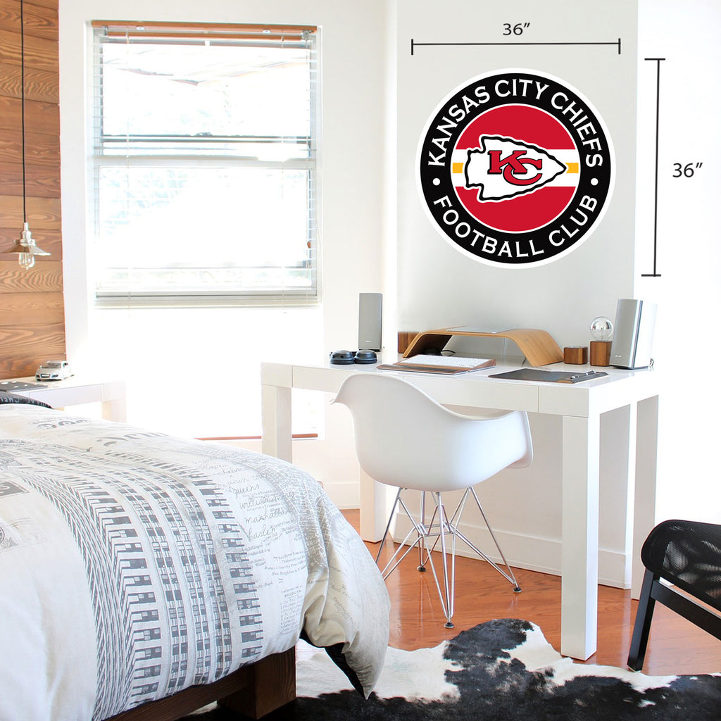 Kansas City Chiefs 36x36 Team Stripe Logo Repositional Wall Decal