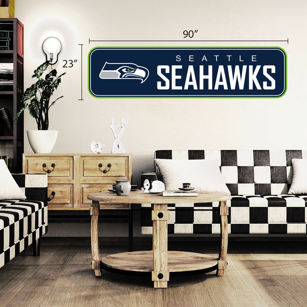 Seattle Seahawks 90x23 Team Repositional Wall Decal - Long Design