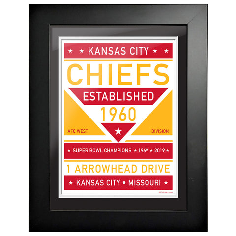 Kansas City Chiefs 12x16 Dual Tone Framed Artwork