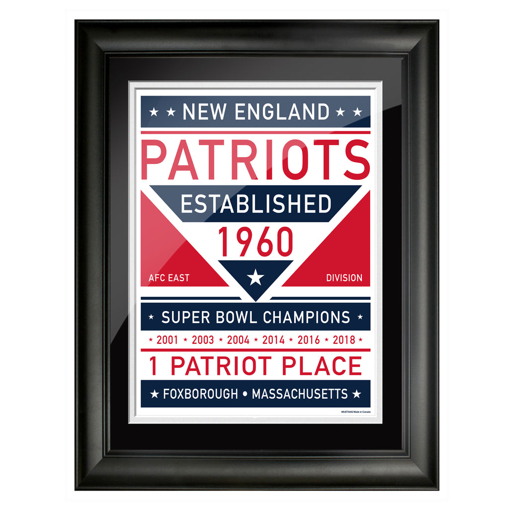 New England Patriots 12x16 Dual Tone Framed Artwork