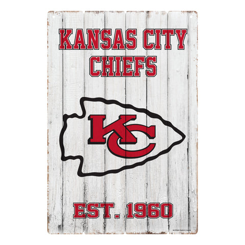 Kansas City Chiefs 24x16 Established Faux  Wood Sign