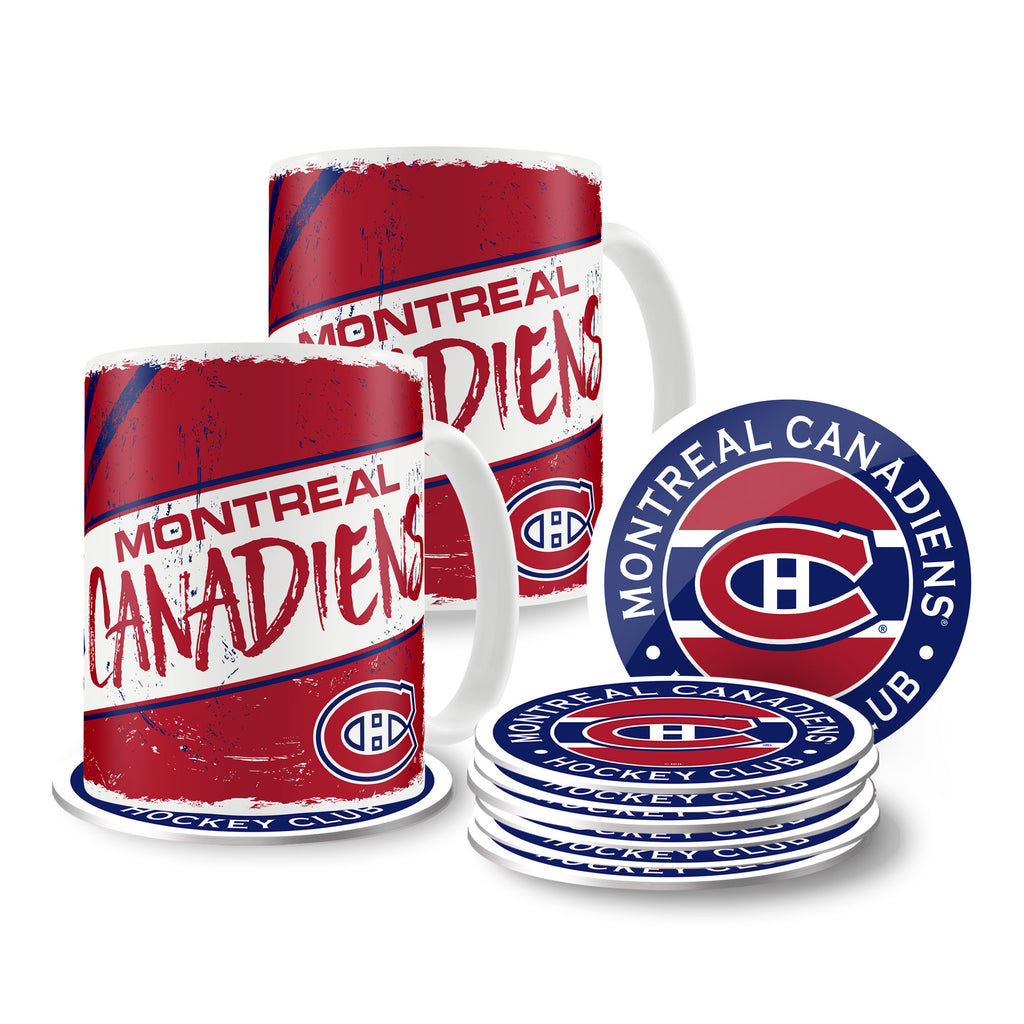 Montreal Canadiens 15oz Classic 2 Pack Mug Set with 8 Pack Coasters