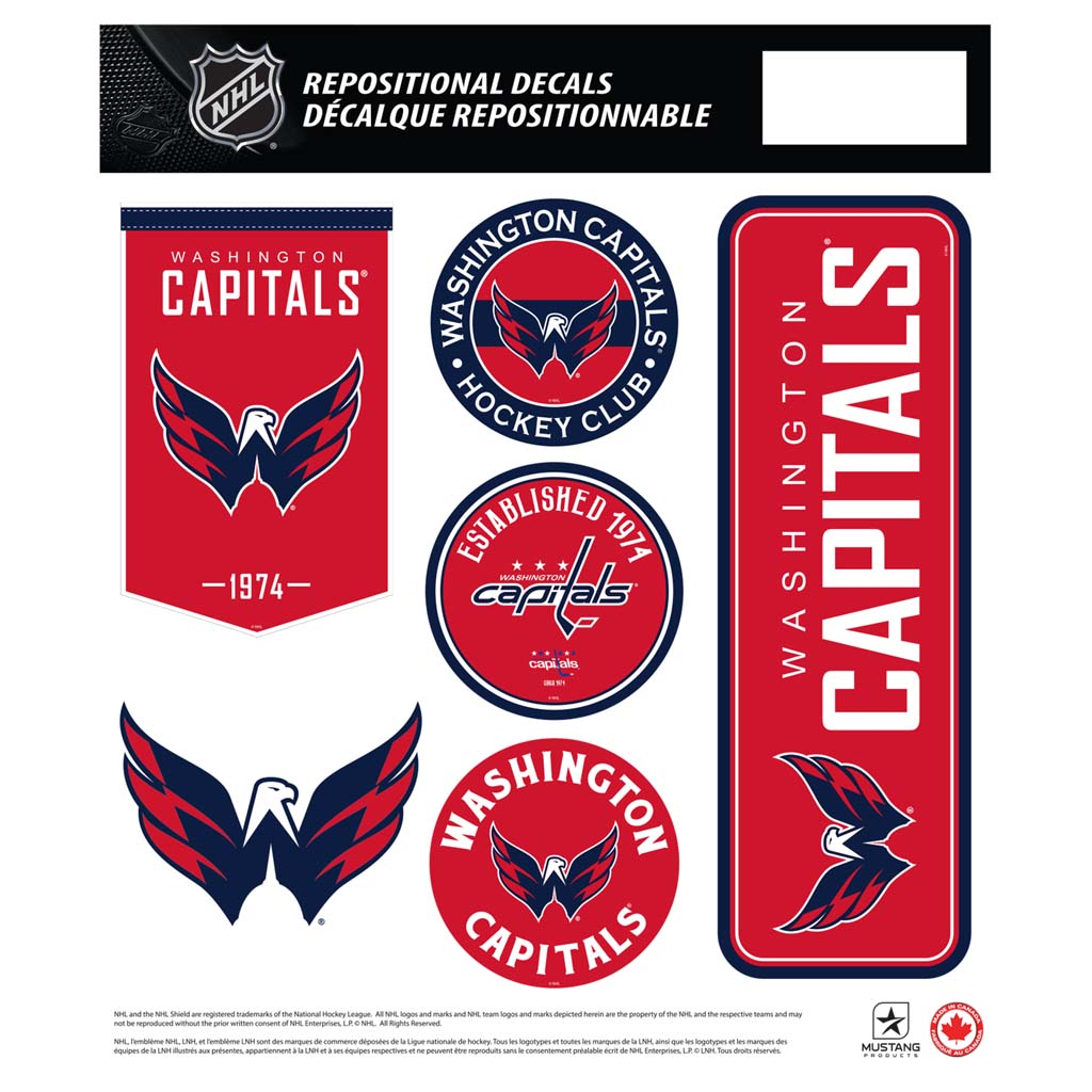 Washington Capitals  12x14 Repositional Team Decal Sheet