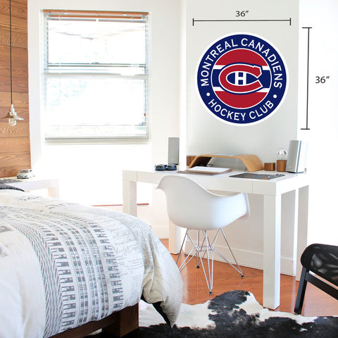 Montreal Canadiens 36x36 Team Stripe Logo Repositional Wall Decal