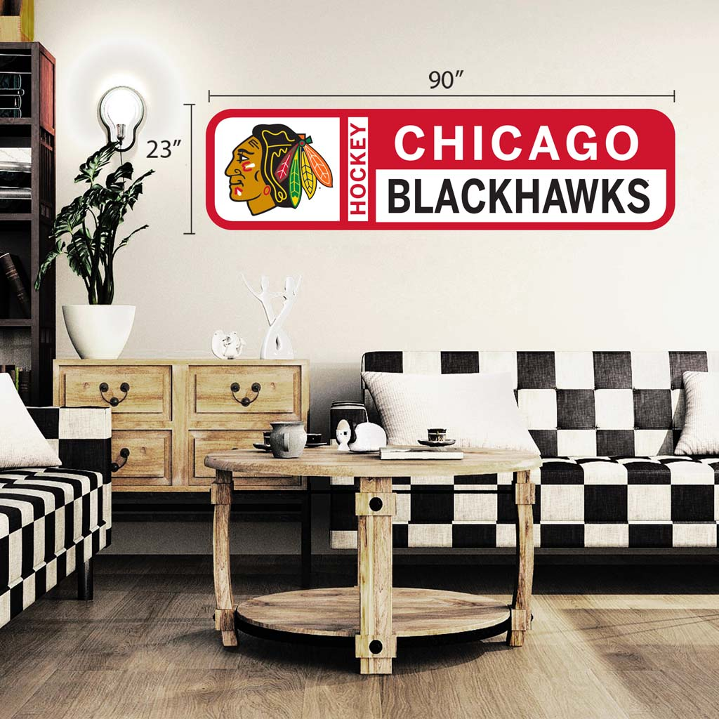Chicago Blackhawks 90x23 Team Repositional Wall Decal Design 56