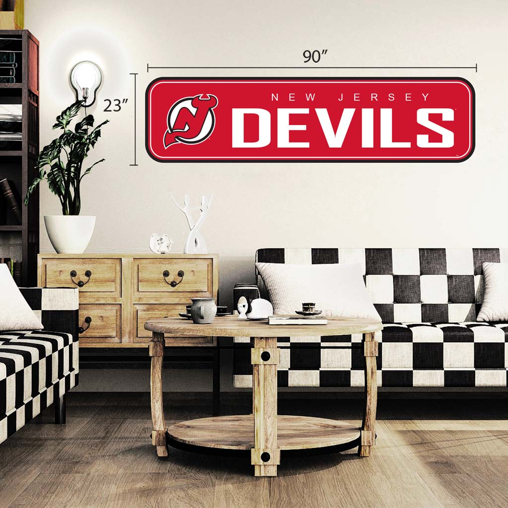 New Jersey Devils - 90x23 Team Repositional Wall Decal - Long Design