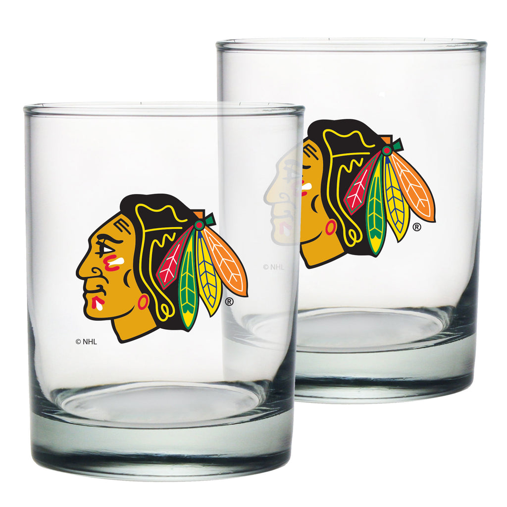 Chicago Blackhawks 2pk Rocks Glass Set