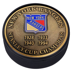 Medallion Puck - New York Rangers Stanley Cup Years Gold