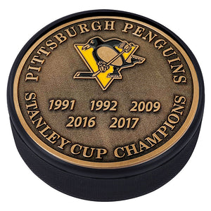 Medallion Puck - Pittsburgh Penguins Stanley Cup Years Gold