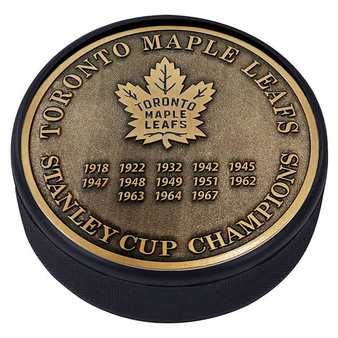 Medallion Puck - Toronto Maple Leafs Stanley Cup Years Gold