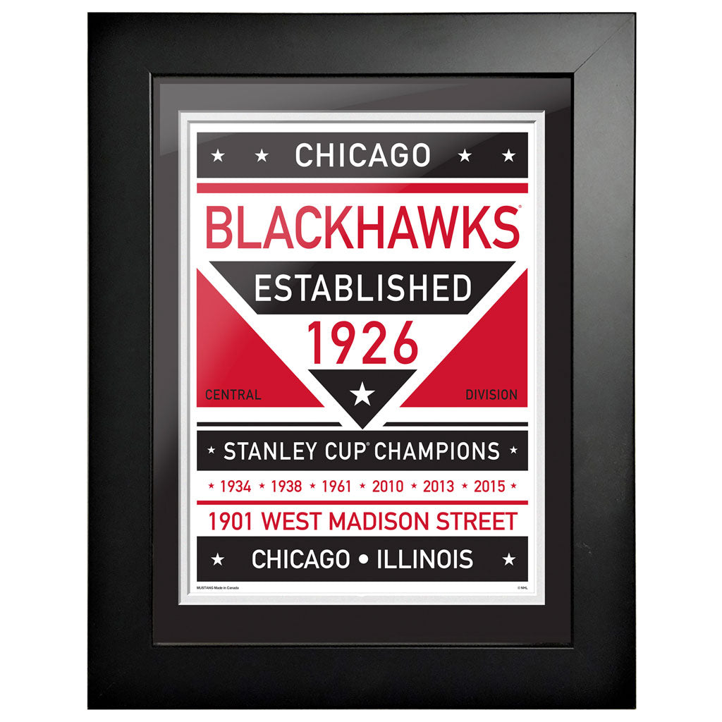 Chicago Blackhawks 12 x 16 Dual Tone Framed Sign