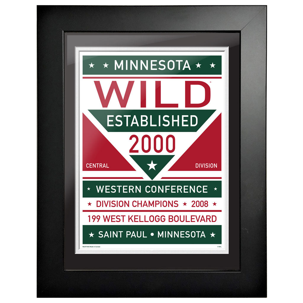 Minnesota Wild 12 x 16 Dual Tone Framed Sign