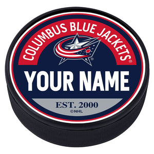 Columbus Blue Jackets Block Textured Personalized Puck