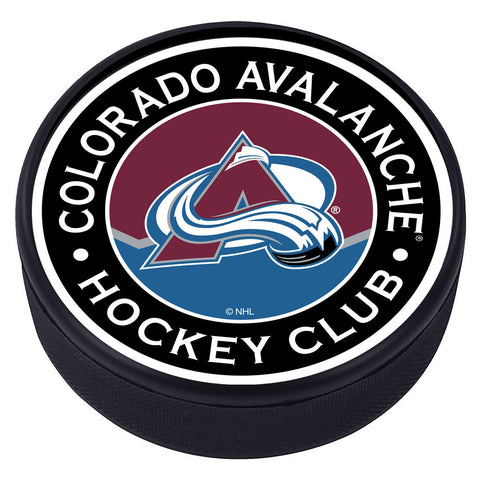 Colorado Avalanche Striped Textured Puck