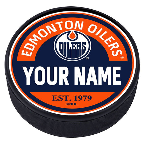 Edmonton Oilers Block Textured Personalized Puck