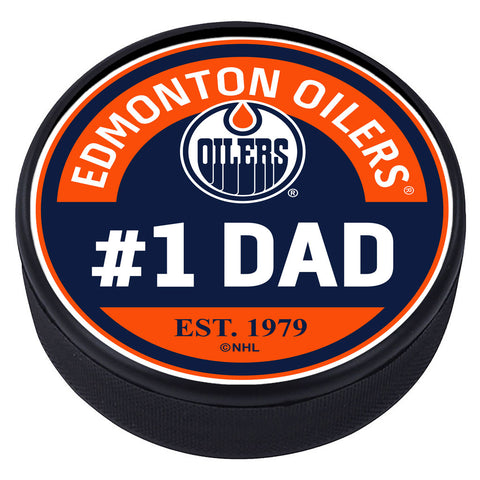 Edmonton Oilers #1 Dad Textured Puck