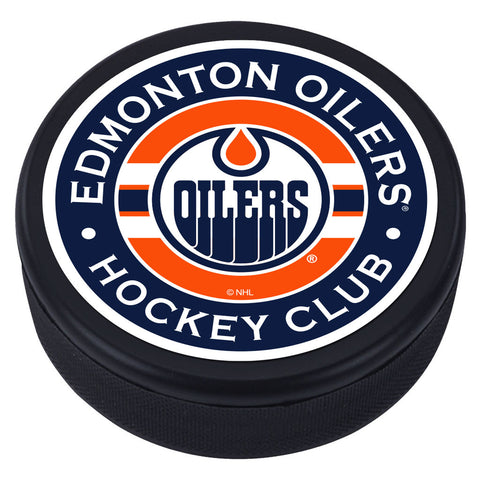 Edmonton Oilers Striped Textured Puck