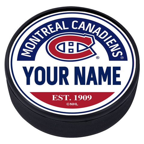 Montreal Canadiens Block Textured Personalized Puck