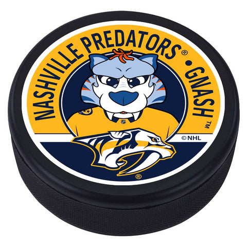 Nashville Predators Gnash Mascot Textured Puck