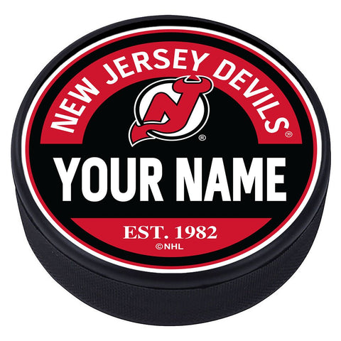New Jersey Devils Block Textured Personalized Puck