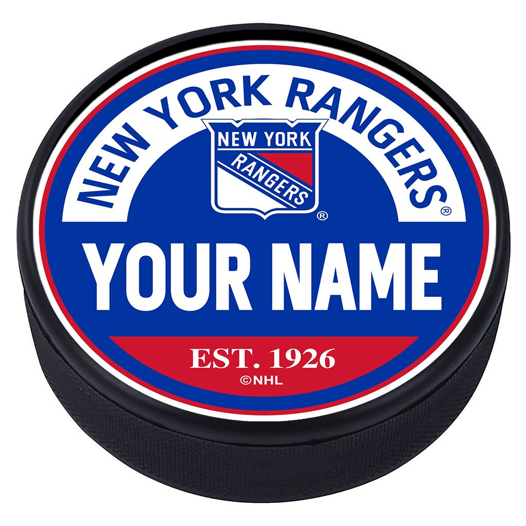New York Rangers Block Textured Personalized Puck