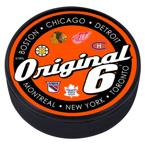 SCRIPT Textured Hockey Puck - Original 6
