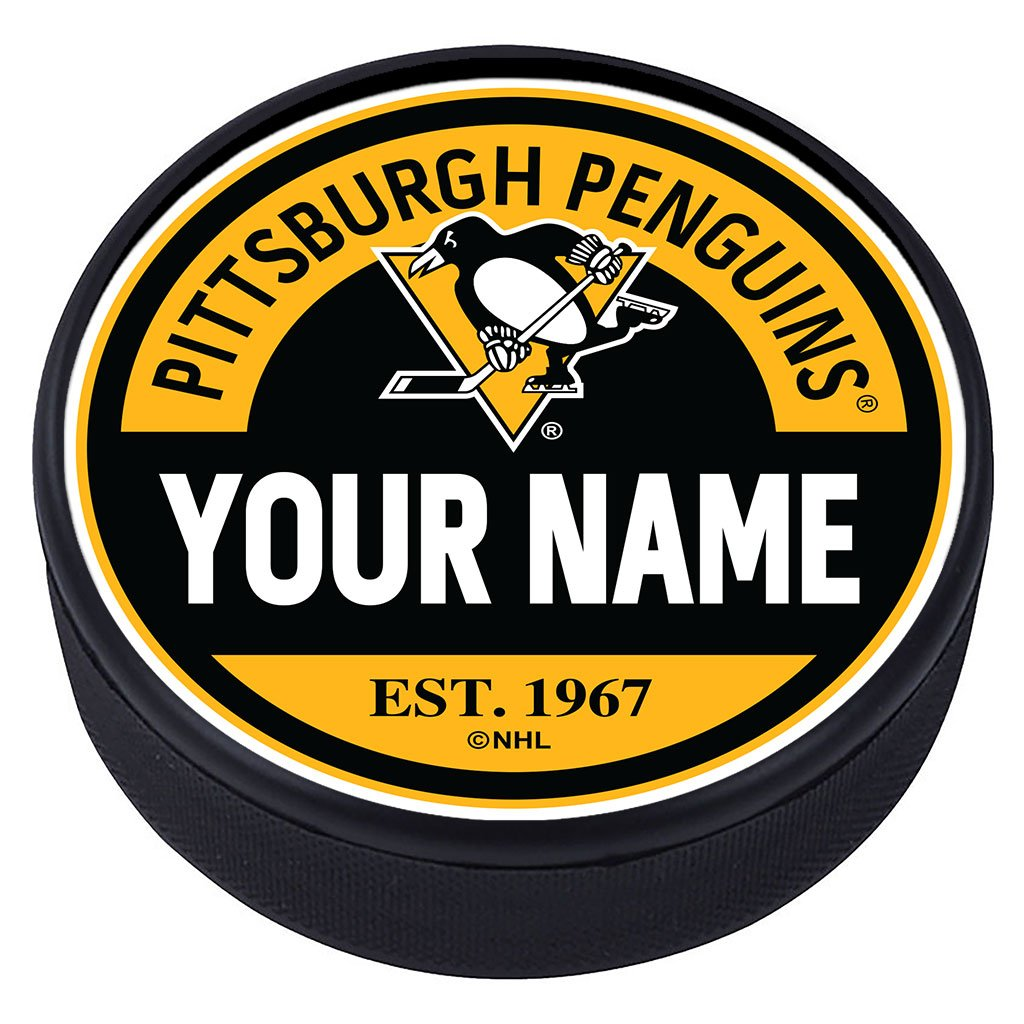 Pittsburgh Penguins Block Textured Personalized Puck
