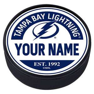 Tampa Bay Lightning Block Textured Personalized Puck