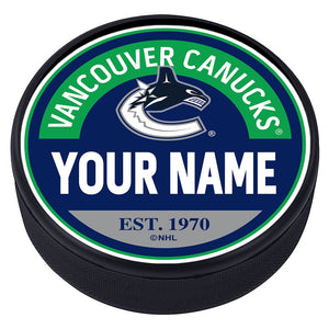 Vancouver Canucks Block Textured  Puck