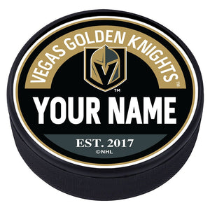 Vegas Golden Knights Block Textured Personalized Puck